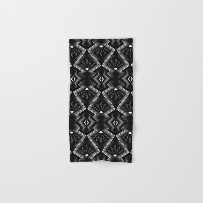 "Art Deco . Black and white pattern .""Constance "". Hand & Bath Towel"
