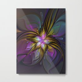 Abstract Art, Coloful Fantasy Flower Fractal Metal Print