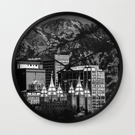 Salt Lake City Downtown Winter Skyline - Black And White Wall Clock