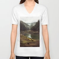 typography V-neck T-shirts featuring Foggy Forest Creek by Kevin Russ
