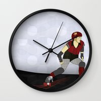 roller derby Wall Clocks featuring Roller Derby by Aquamarine Studio