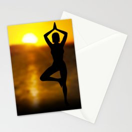 Yoga Female by the Ocean at Sunset Stationery Cards