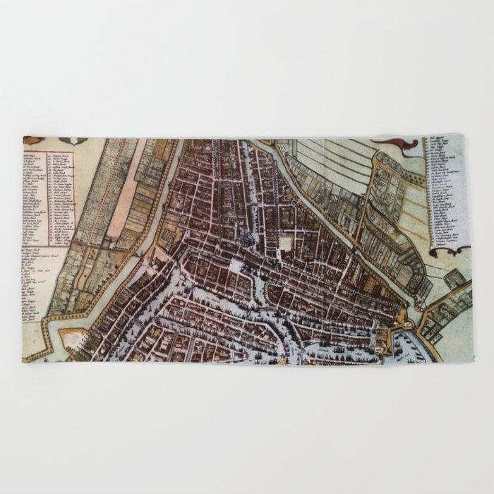 Replica city map of Rotterdam 1652 Beach Towel