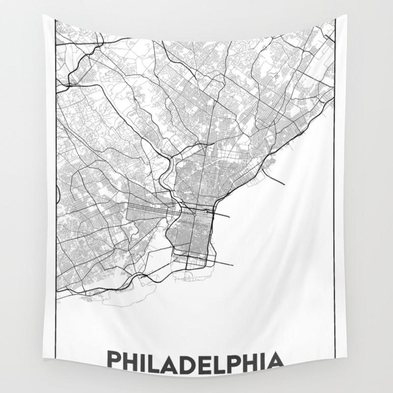 Minimal City Maps - Map Of Philadelphia, Pennsylvania, United States Wall  Tapestry