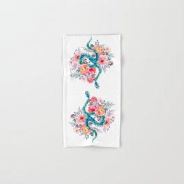 Blue Watercolor Snake In The Flower Garden Hand & Bath Towel