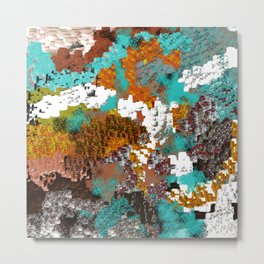 Mixed Up Block Patterns in Aqua, Golds, Browns, Naturals Metal Print