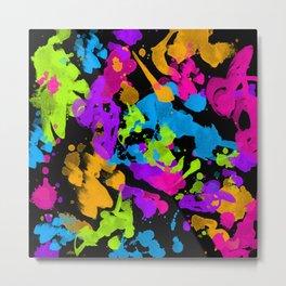Neon Paint Splatter Metal Print