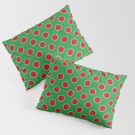 Christmas Polka Dots in Red and White on Green Pillow Sham