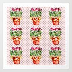 Polka Dots and Pots of Dried Roses Art Print