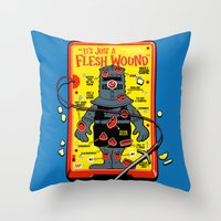 in the flesh Throw Pillows featuring Flesh Wound by Captain_RibMan