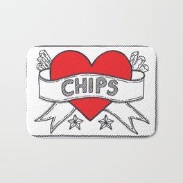 I Heart Chips Bath Mat
