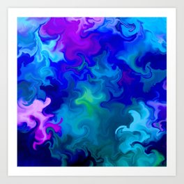 Big Blue Swirl Art Print