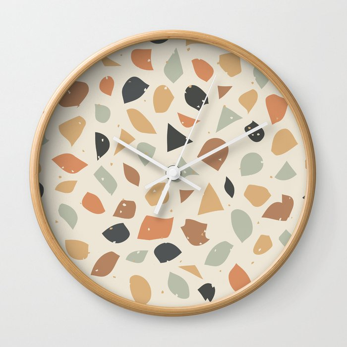Terrazzo Flooring Vector Seamless Pattern Texture Of Classic Italian Type Of Floor In Venetian Styl Wall Clock By Linesanddotsdesigns