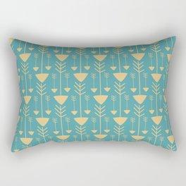 Vintage pastel blue yellow hand painted bohemian tribal arrows Rectangular Pillow