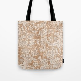 Vintage white brown grunge shabby floral Tote Bag
