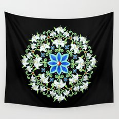 Folkloric Flower Crown Wall Tapestry
