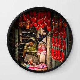 Slipper shop in Kathmandu, Nepal Wall Clock