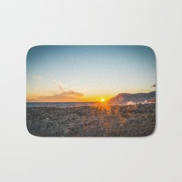 The bay of Montecarlo Monaco at sunset from Cap Martin in a sunny winter day Bath Mat