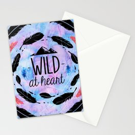 Wild at Heart - Boho Watercolor Feathers Stationery Cards