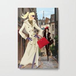 Paris Shopping Girls Metal Print