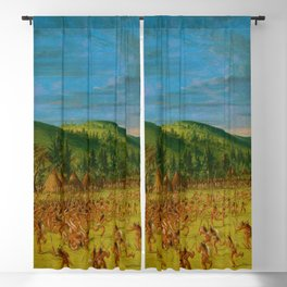 Classical Masterpiece 'Ball play of the Choctaw' by George Catlin Blackout Curtain