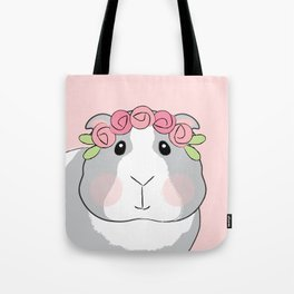 Adorable Grey Guinea Pig with Pink Rosebuds Tote Bag