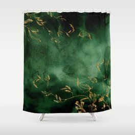 Winter Gold Flowers On Emerald Marble Texture Shower Curtain