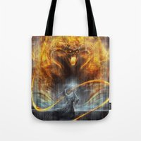 lotr Tote Bags featuring 'You shall not pass' by jasric