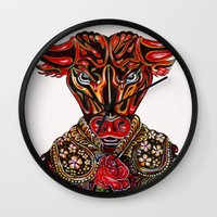 taurus Wall Clocks featuring Taurus  by Felicia Cirstea
