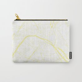 Paris France Minimal Street Map - White on Yellow Carry-All Pouch