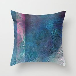 Atmosphere // blue magenta abstract textural painting, modern Throw Pillow