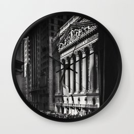 Wall Street, Stock Exchange, New York, New York black and white photograph Wall Clock