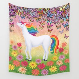 whimsy (rainbow unicorn), butterflies, African daisies Wall Tapestry