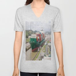 A cargo ship crossing the Miraflores locks at the Panama Canal Unisex V-Neck