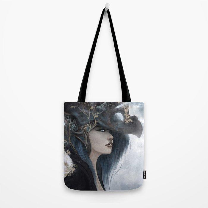 Bluish Black - Mysterious fantasy mage girl portrait Tote Bag