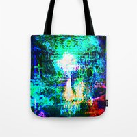 "hologram Tote Bags featuring "" The voice  is a second face"" by shiva camille"