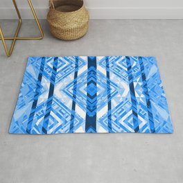 Blue Tribal Geometric Rug