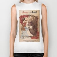beauty and the beast Biker Tanks featuring Beauty and the beast by Anna Thomas
