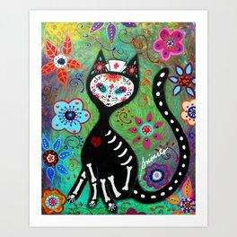 MEXICAN CAT NURSE  COUPLE  DIA DE LOS MUERTOS PAINTING Art Print