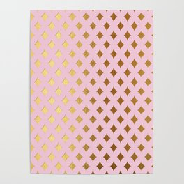 Queenlike - pink and gold elegant quatrefoil ornament pattern Poster