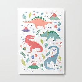 Dinos + Volcanoes - Coral Metal Print