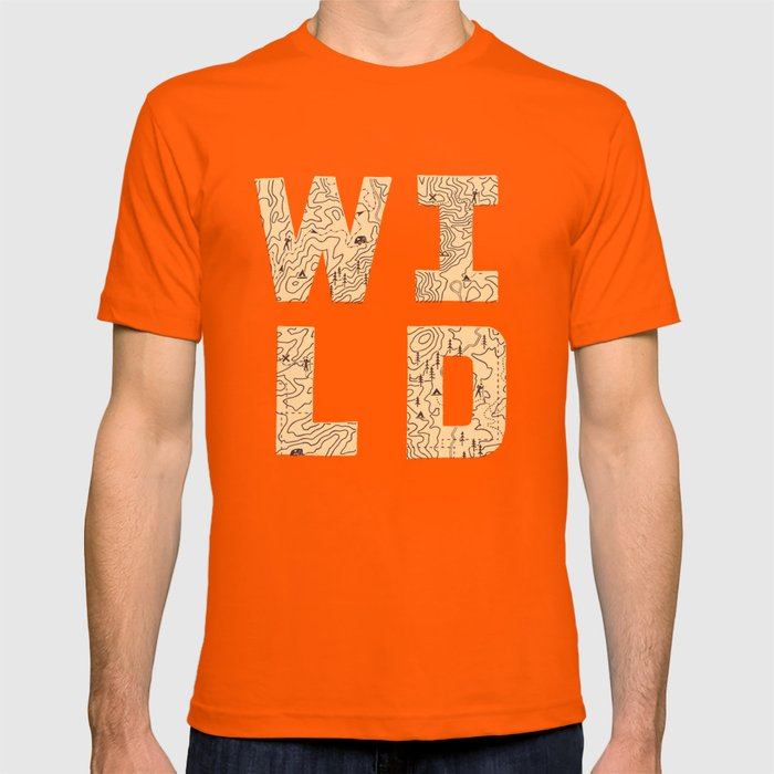 """""""Wild"""" Type with Topography Map (rust) T-shirt"""