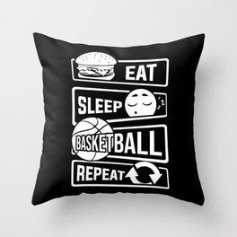 Eat Sleep Basketball Repeat - B-Ball Team Dunk Throw Pillow