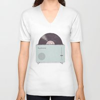high V-neck T-shirts featuring High Fidelity Toaster by Florent Bodart / Speakerine