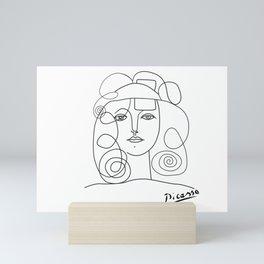 Abstract woman portrait, minimalist one line art Mini Art Print