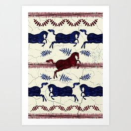 Ancient Greek Fresco - Navy & Red Art Print