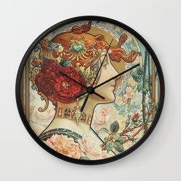 French Art Nouveau Woman Wall Clock