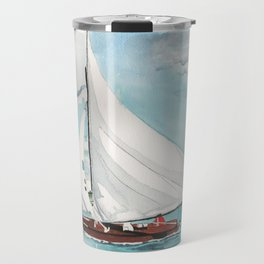Sail Away watercolor painting of sailboat on turquoise waters Travel Mug