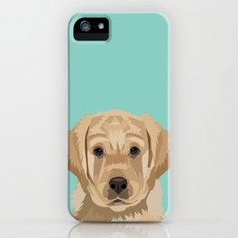 Labrador puppy pet portrait wall art and gifts for dog breed lovers iPhone Case
