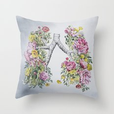 Floral Anatomy Lungs Throw Pillow